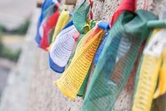 Bandiere tibetane di preghiera Fotografie Stock