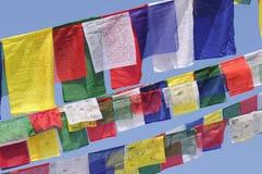 Bandiere tibetane di preghiera a Kathmandu, Nepal Fotografia Stock