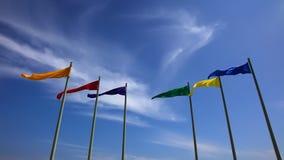 Bandiere variopinte e cielo blu perfetto video d archivio