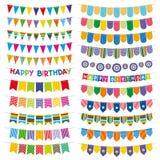 Bandiere variopinte e ghirlande della stamina Decorazione di vettore della festa di compleanno illustrazione vettoriale
