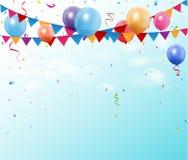 Bandiere variopinte e palloni della stamina di compleanno con spazio per il vostro testo illustrazione di stock