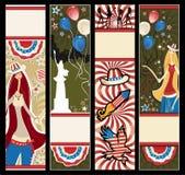 Bandiere verticali americane. Fotografia Stock