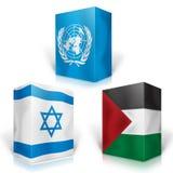bandierina 3d del palestine contro l'Israele e l'ONU sulla parte superiore Fotografie Stock