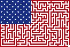 Bandierina americana concettuale del labirinto Immagine Stock Libera da Diritti