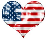 Bandierina americana del cuore Fotografia Stock