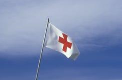 Bandierina americana della croce rossa Fotografia Stock