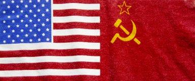 Bandierina americana e russa fotografie stock