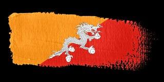 Bandierina Bhutan di Brushstroke Immagini Stock