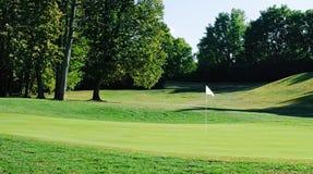 Bandierina bianca sul terreno da golf Immagini Stock Libere da Diritti