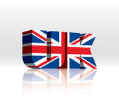 bandierina BRITANNICA del testo di parola di vettore 3D (del Regno Unito) Fotografie Stock Libere da Diritti