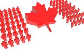 Bandierina canadese della gente 3D Immagini Stock