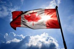 Bandierina canadese illuminata Immagine Stock Libera da Diritti