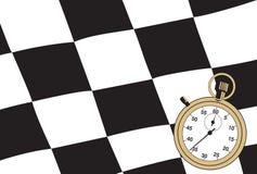 Bandierina Checkered con un cronometro Immagini Stock Libere da Diritti