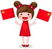 Bandierina cinese della holding della ragazza Fotografia Stock