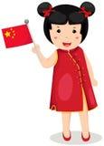 Bandierina cinese della holding della ragazza Fotografia Stock Libera da Diritti