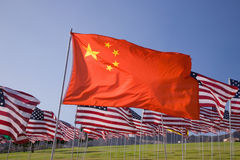 Bandierina cinese fra i 3000 Fotografie Stock