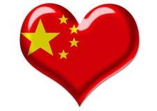 Bandierina cinese nell'illustrazione del cuore Fotografia Stock