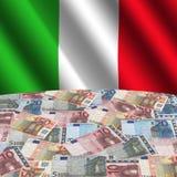 Bandierina con gli euro italiani Fotografie Stock