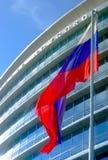 Bandierina d'ondeggiamento davanti al grattacielo Immagini Stock