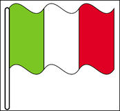 Bandierina d'ondeggiamento dell'Italia Fotografie Stock