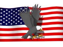 Bandierina degli S.U.A. del infront dell'aquila Fotografia Stock Libera da Diritti