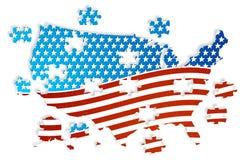 Bandiera di U.S.A. di puzzle negli stati Fotografie Stock Libere da Diritti