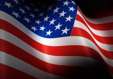 Bandierina degli Stati Uniti d'America Immagine del volo della bandiera americana nel vento Fotografia Stock