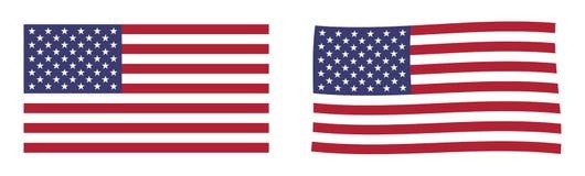 Bandierina degli Stati Uniti d'America Versio semplice e leggermente d'ondeggiamento illustrazione vettoriale