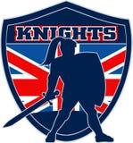 Bandierina dei britannici dello schermo della spada del cavaliere Fotografia Stock Libera da Diritti