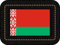 Bandierina del Belarus Icona di vettore su cuoio nero Fotografia Stock
