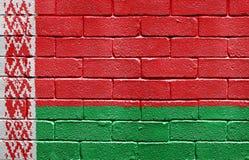 Bandierina del Belarus sul muro di mattoni Fotografia Stock