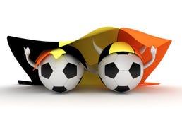 Bandierina del Belgio della stretta delle due sfere di calcio Immagini Stock Libere da Diritti