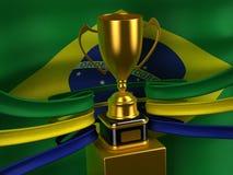 Bandierina del Brasile con la tazza dell'oro Fotografia Stock