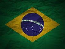 Bandierina del Brasile della priorità bassa di Grunge Fotografie Stock Libere da Diritti