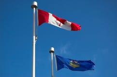 Bandierina del Canada & dell'Alberta Fotografia Stock