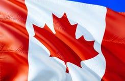 Bandierina del Canada progettazione d'ondeggiamento della bandiera 3D Il simbolo nazionale del Canada, rappresentazione 3D Colori immagini stock