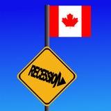 Bandierina del canadese del segno di recessione Fotografia Stock