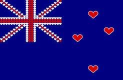 Bandierina del cuore della Nuova Zelanda Fotografie Stock