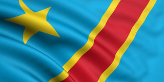 Bandierina del Democratic Republic Of The Congo Fotografie Stock Libere da Diritti