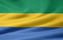 Bandierina del Gabon Fotografia Stock