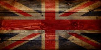 Bandierina del Jack del sindacato di GB sulla priorità bassa di legno del grunge Fotografia Stock Libera da Diritti
