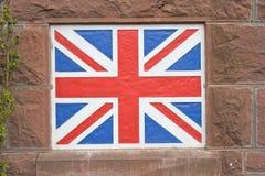 Bandierina del Jack del sindacato verniciata sulla parete. Fotografia Stock Libera da Diritti