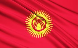 Bandierina del Kirghizstan immagine stock