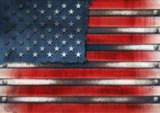 Bandierina del metallo degli S.U.A. Grunge Fotografia Stock