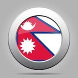 Bandierina del Nepal Bottone rotondo grigio del metallo brillante Immagine Stock