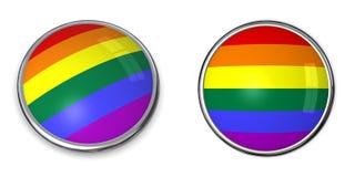 Bandierina del Rainbow del tasto della bandiera Fotografie Stock
