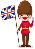 Bandierina del Regno Unito della holding del soldato Immagini Stock