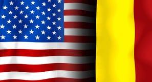 Bandierina del S.U.A.-Belgio Fotografie Stock Libere da Diritti
