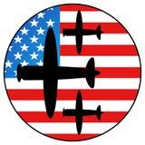 Bandierina dell'America ed aeroplano del combattente Fotografia Stock