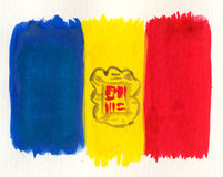 Bandierina dell'Andorra dell'acquerello Fotografia Stock